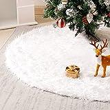 Homde Christmas Tree Skirt 48 Inch Tree Skirt Christmas Decorations Faux Fur White Xmas Tree Skirt for Christmas Home Decorations