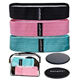 Booty Bands and Core Slider Strength Set - Fabric Resistance Bands for Legs and Butt, Glutes, Thigh Non-Slip Bands for Squats, Deadlifts, Yoga - 3 Hip Bands and 2 Core Gliders for Working Out