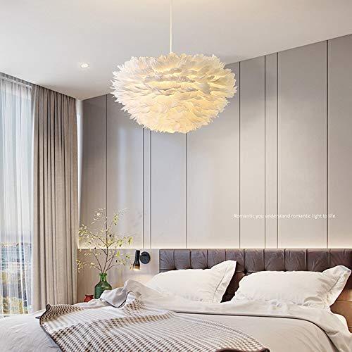 Lámpara de techo para comedor lámpara colgante de plumas color blanco para dormitorio decoración lámpara de noche comedor habitación infantil lámpara de araña para salón pasillo sala de lectura E27