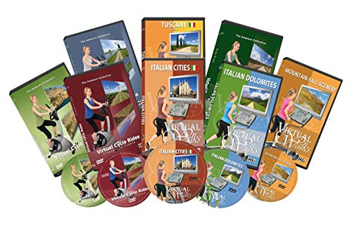 8 Disc Set Combo Pack - Best of Europe Virtual Walks and Cycling DVD Box Set for Treadmill, Elliptical Trainers and Spin Bikes Workouts