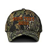 Camo Baseball Cap Custom Personalized Text Cotton Hunting Dad Hats for Men & Women Strap Closure Forest Tree Green