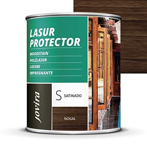 LASUR PROTECTOR SATINADO.(7 COLORES), Protege, decora y embellece todo tipo de madera (750 ML, NOGAL)