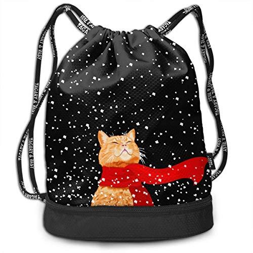 PmseK Sac à Dos imprimé avec Cordon de Serrage, Merry Christmas Cat with A Scarf Multifunctional Bundle Backpack Shoulder Bag for Men and Women