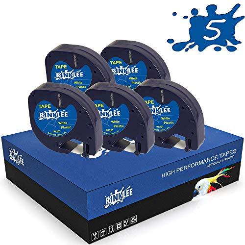 RINKLEE Schwarz auf Weiß Kunststoff Etiketten Schriftband Kompatibel mit DYMO LetraTag LT-100H LT-100T LT-110T QX50 XR XM 2000 Plus | 12 mm x 4 m | 5 Kassetten