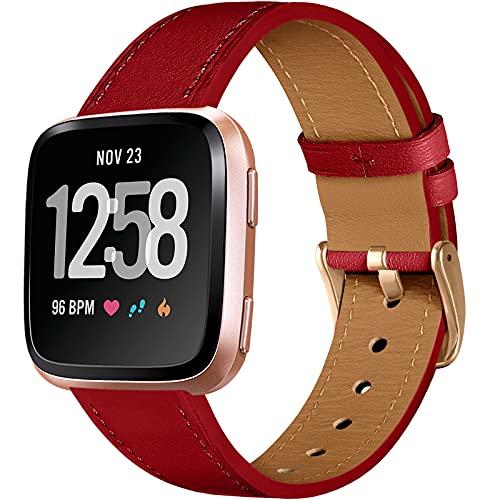 CeMiKa Correa de Cuero Compatible con Fitbit Versa Correa/Fitbit Versa 2 Correa, Correas de Cuero de Repuesto Clásicas Compatible con Fitbit Versa/Versa 2/Versa Lite/SE, Rojo/Oro Rosa
