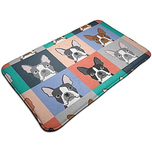 OUSHENGMAOYI Vloermat Extra Dikke Waterabsorberende Boston Terriers Tegel Bulldog Hond Set Patroon Deurmat 60X40Cm Perfect Voor Slaapkamer Badkamer Woonkamer