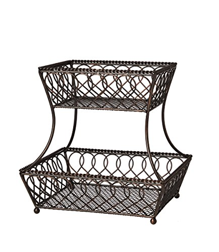 Gourmet Basics by Mikasa 5201553 Loop and Lattice 2Tier Metal Rectangular Fruit Storage Basket 14Inch Antique Black