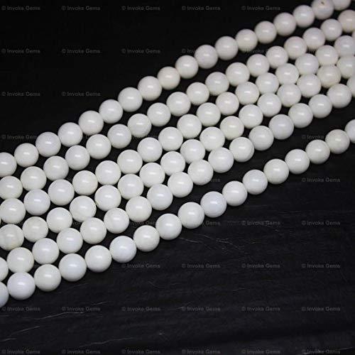 Shree_Narayani Cuentas sueltas de coral blanco de alta calidad de hilo redondo suave bola 8mm 19 pulgadas para hacer joyas DIY manualidades encantos collar pulsera pendiente 1 hebra