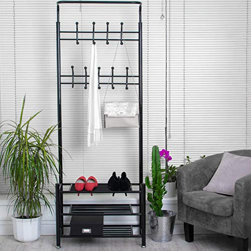 Home Treats Tall Entryway Coat Stand With 3 Tier Shoe Rack, Black Metal Multi-purpose Clothing Hooks For Hallway. Home Furniture And Storage organizer