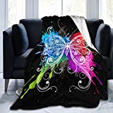 Gaseekry Blanket Colorful Butterfly Fleece Flannel Throw Blankets for Couch Bed Sofa Car,Cozy Soft Blanket Throw Queen King Full Size for Kids Women Adults 80'X60'