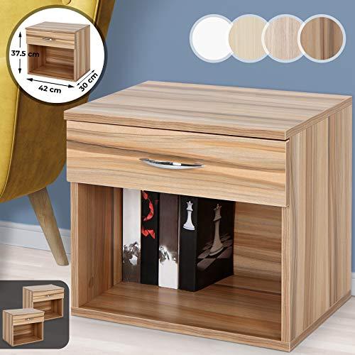 MIADOMODO Nachttisch mit Schublade - 42x30x37.5cm, 1er oder 2er, MDF, Nachtschrank, Nachtkommode, Nachtkonsole, Kommode, Ablagetisch für Schlafzimmer (1er, Pflaumenholzoptik)