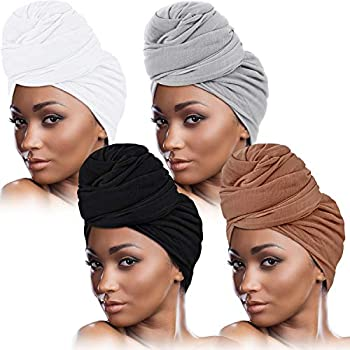 SATINIOR 4 Pieces Head Wrap Scarf Stretch Turban for Women Long Hair Scarf Wrap Soft Head Band Tie African Head Wraps As the Pictures Show Medium