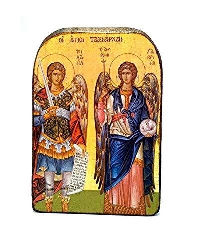 Handgefertigte Ikone aus Holz, im griechisch-christlich-orthodoxen Glauben, Motiv: Berg Athos mit Erzengeln Michael und Gabriel
