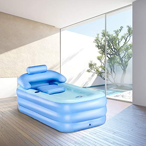 CO-Z Inflatable Adult Bath Tub, Free-Standing Blow Up Bathtub with Foldable Portable Feature for Adult Spa with Electric Air Pump (High-Density PVC)