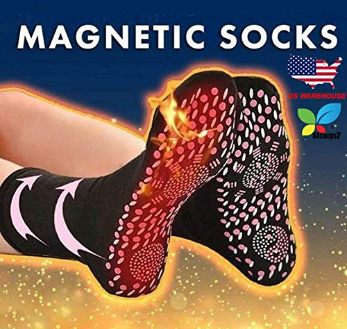Self Heating Socks, Stcorps7 Tourmaline Self-Heating Therapy Magnetic Socks Comfortable Breathable Massage Anti-Freezing Warm Foot Socks Outdoor Skiing (Black)