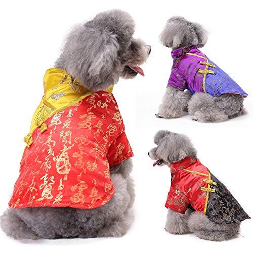 LbojailiAi Haustier Hund Welpen Winter Chinesischen Stil 2020 Neujahr Weiche Kleidung Kostüm Mantel Bekleidung