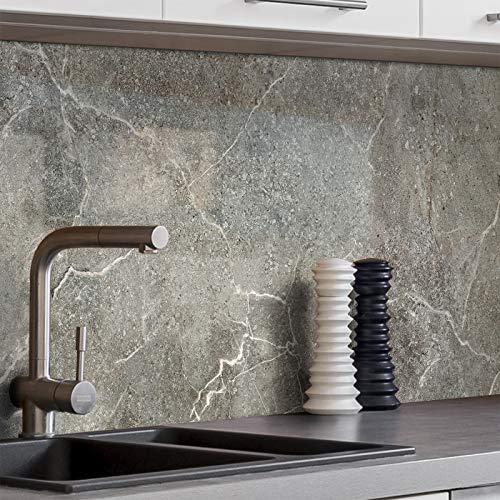 BilderKing Küchenrückwand selbstklebend 400cm x 60cm Stein-Optik Marmor dunkelgrau Spritzschutz für Ihre Küche in Glasoptik, Absolute Deckung und Haftung auf Fliesenspiegel und sonstigen Untergründen