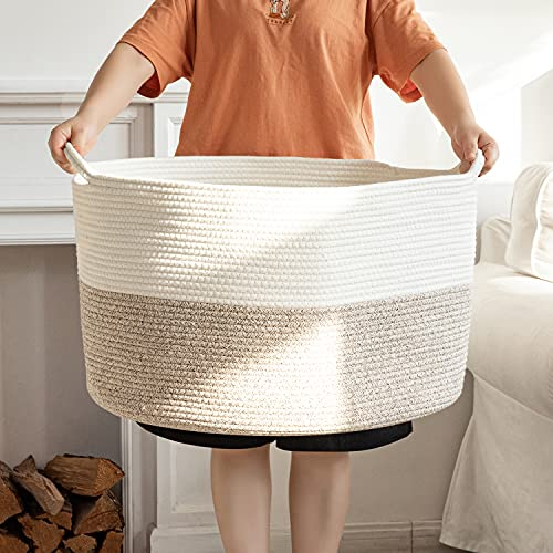 Laundry Baskets Woven Baskets for Storage Basket Wicker Blanket Basket Living Room Cotton Coiled Rope Hamper Nursery Storage for Kids Baby Dog Toy Extra Large 22' X 22' X 14', XXXL-Khaki