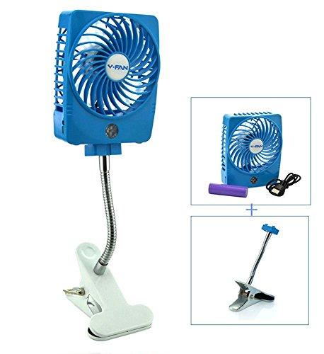 Ventilatore USB fan con Clip, Ventilatore Da Tavolo Mini Ventilatore USB con Clip, 5 pollici 2 Speed Mode 360 regolabile portatile ventola di raffreddamento per Ufficio, letto, Dormitorio