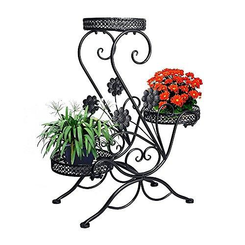 Dazon Metall Blumentreppe Blumen Regale Pflanzenständer 66cm mit 3 Körbe Hocker Blumenhocker Regal (Schwarz, S-Flach)