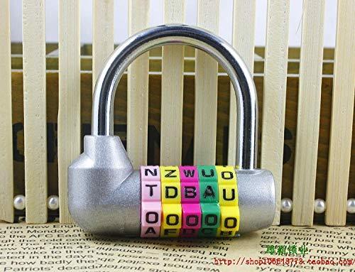 Creatief slot, 5 cijferige Engelse brieven, wachtwoordslot, groot formaat, deurslot, leuke kamerdeur hangslot, Grijs