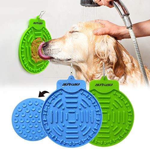 2 pcs Dog Lick Pad, Bath & Grooming Alimentadores lentos, Dog Lick Plate Silicona Alfombrilla de alimentación para Mascotas Alimentador Lento para Perros con Ventosa