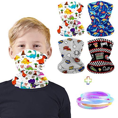 4Pcs Kids Neck Gaiter Face Mask, Adjustable Bandanas Scarf Balaclavas for 3-6 Years Boys Birthday Gifts with 8Pcs Rubber Bracele