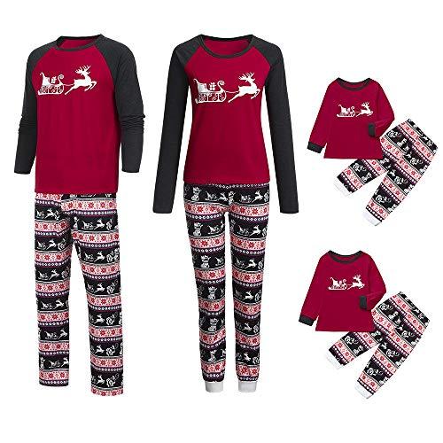 Jaysis Jaysis Familie Pyjamas Weihnachten, Eltern-Kind-Cartoon-Bluse Hose Pyjamas Nachtwäsche Passendes Weihnachtsset
