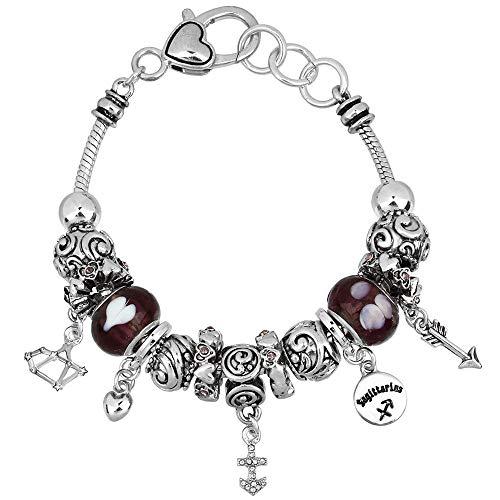 Falari Zodiac Charm Bracelet Multi-Color Slide Metal Murano Beads Silvertone (Style 2 - Sagittarius (Nov 23 - Dec 21))