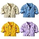 FAXSON Toddler Boys Girls Casual Denim Jackets Coats Kids Button Down Jeans Tops Outerwear(Purple,100/3T)