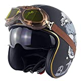 EBAYIN Cascos Half-Helmet Cascos Abiertos Brain - Cap Motocicleta Retro Harley Casco para Montar Personalidad 3/4 Medio Casco con Gafas Dot + ECE Cruiser Chopper Casco,D-L=(59~60cm)