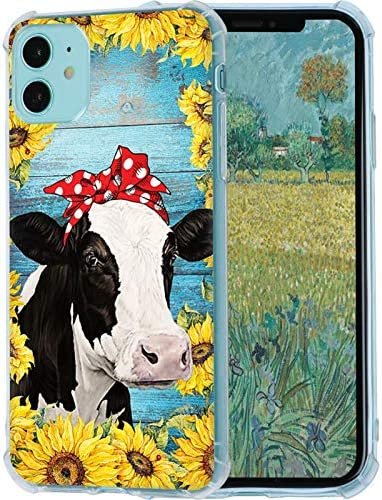 iPhone 11 Case Sunflowers Cow Case for iPhone 11 with Unique Design Soft Slim Sillicone TPU product image