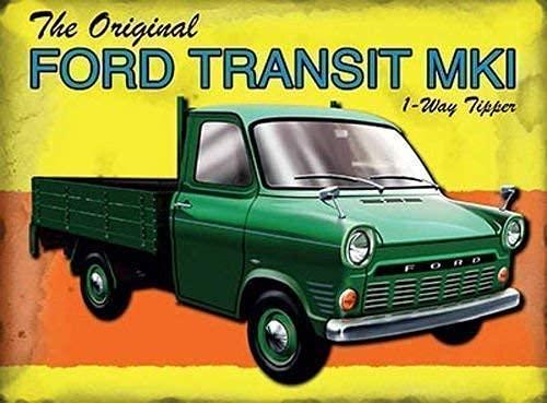 La Ford Transit MKI 1 voie Bennes basculantes. Dans un vert Britannique classique van,arrière os de Grande-bretagne Marque 1. maison,Maison,barre,bar pub,garage,hangar/homme grotte. Métal/ - 30 x 40 cm