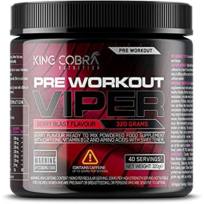 Pre Workout Viper, Berry Blast Flavour | with B12 for Energy, Metabolism & Nervous System | Features Creatine, Caffeine, Beta-Alanine and Glutamine | 40 Servings (320 Grams)