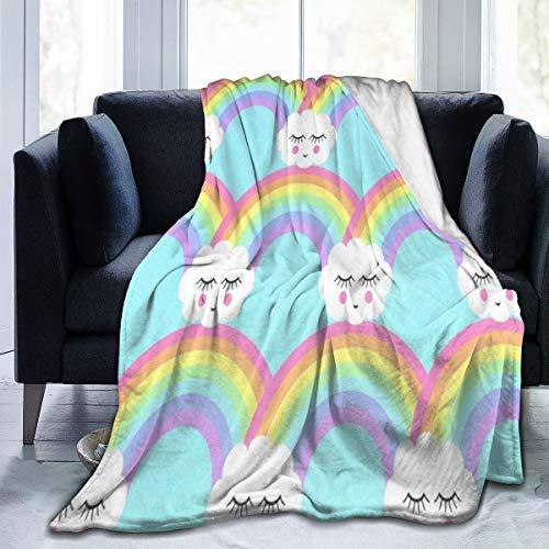 Colección Microplush Manta de forro polar de franela para dormir, nubes y arco iris, a la moda, antiestática, para todas las estaciones, para sofá cama, 127 x 10287 x 101 cm