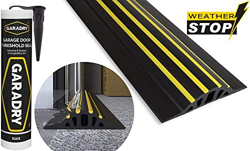 Weather Stop 30 mm (Höhe) Bodenabdichtung für Garagentore | 2,52 m | PVC schwarz/gelb | Kleber im Kit enthalten