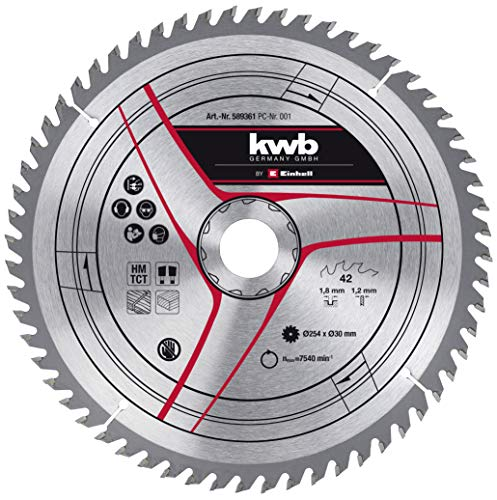 kwb by Einhell Hoja de sierra HM (Ø 254 x 30 mm, 42 dientes, apta para sierra circular de mesa Einhell TC-TS 2025/2 eco y sierra ingletadora TC-SM 254 y TC-SM 2531/1 U)