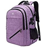 Large Laptop Backpack 17.3 inch Durable Waterproof Travel College Backpack Bookbag for Men & Women Business Backpack with USB Charging Port and Headset Port Light Purple
