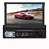 SOVLONG 7inch Flip-Out Screen car Stereo Manully Pop-Out Touch Screen car Stereo with Bluetooth car Radio Support USB Device, sd Card aux in and Wireless Remote Control