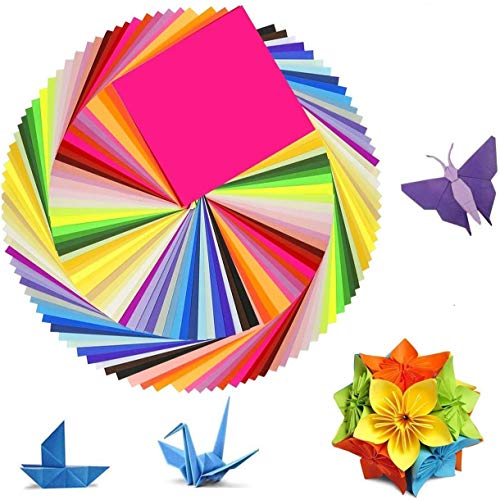 Papel origami de doble cara, 150 hojas, papel de origami en 50 colores vivos, papel de origami para arte y proyectos de manualidades (15 x 15 cm)