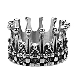 PAMTIER Men's Stainless Steel Royal King Crown Ring Silver Black Knight Cross Band Size 10