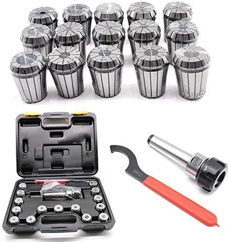 MXCYSJX 15 stks MK3 M12 ER32 Precisie Veer Collet Set MT3 3-20mm collet chuck met behuizing voor CNC Workholding Graveren & frezen draaibank gereedschap