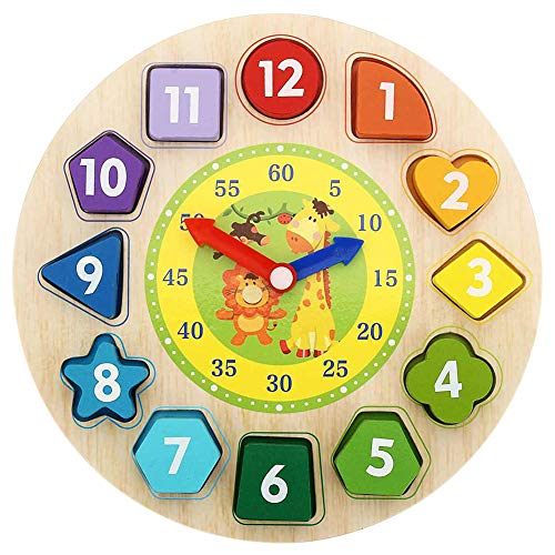 Shape Sorting Clock Wooden Teaching Learning Puzzle Educational Toys Clock with Numbers & Shapes Games for Kids Preschool Toddlers Boys and Girls, Teach Your Kid To Tell Time