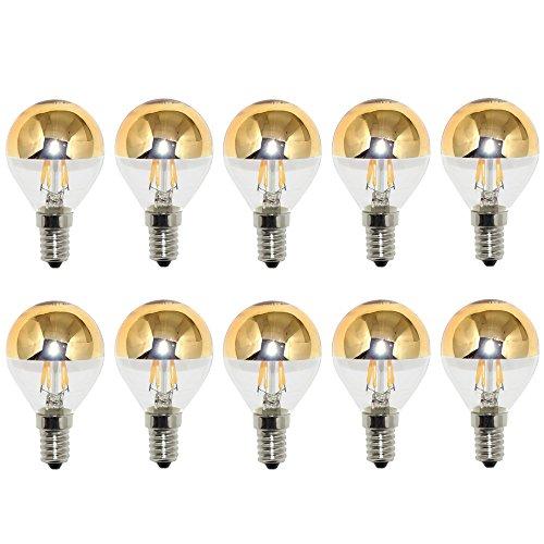 10 x LED Filament Tropfen Glühbirne 4W = 40W E14 Kopfspiegel gold warmweiß 2700K KVG