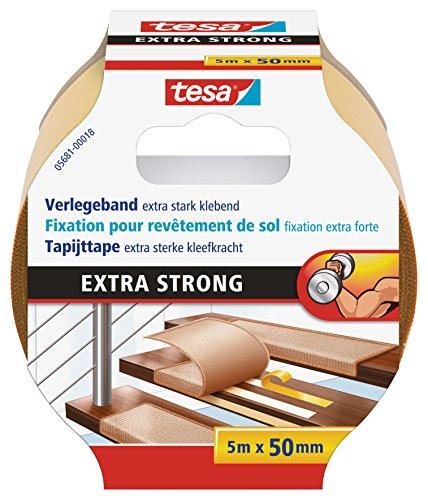 tesa Verlegeband extra stark klebend - Doppelseitiges Klebeband zum Verlegen von Teppich und PVC-Belag - doppelseitig klebend - 5 m x 50 mm