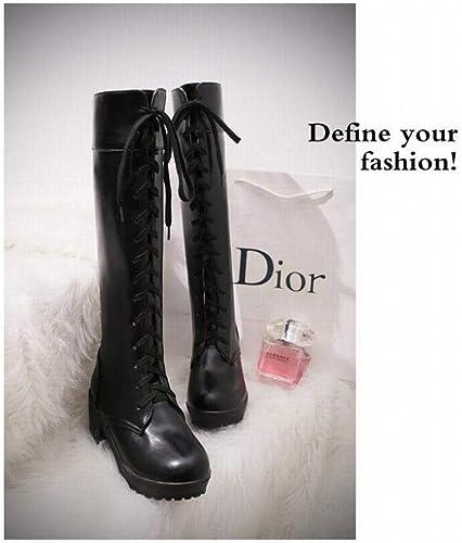 ZHRUI Stiefel de damen - Stiefel cálidas de Rodilla de otoño e Invierno Cordones de tacón Alto Stiefel de damen Stiefel de Moto 34-43 (Farbe   schwarz, tamaño   39)