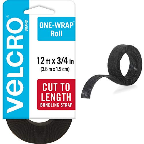 VELCRO Brand - ONE-WRAP Roll, Double-Sided, Self Gripping Multi-Purpose Hook and Loop Tape, Reusable, 12' x 3/4\u0026quot; Roll - Black