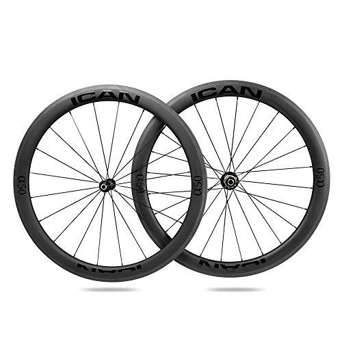 ICANIAN Alpha 50 Ruedas de Carbono Remachador Tubeless Listo Bici Carretera Ruedas 20/24 Agujeros Shimano 10/11 V