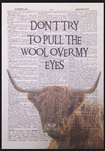 Parksmoonprints Page de Dictionnaire Vintage Motif Vache Mouton