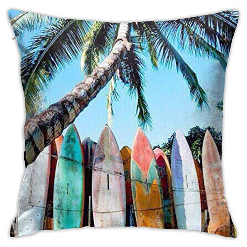 pingshang Fundas de almohada, diseño de tabla de surf, algodón y poliéster, fundas cuadradas para sofá, decoración del hogar, 45,72 x 45,72 cm